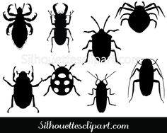 Insects Silhouette Clip Art Pack Download Insects Vectors