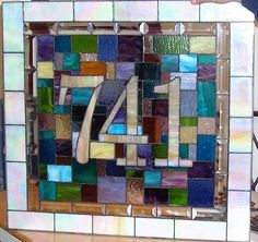Stained Glass Door Panel - House Number & Colorful Quilt Design (AM-12) on Etsy, £248.03
