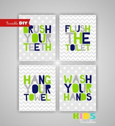 Diy Kids Bathroom Decor red black grey printable kids bathroom wall art bathroom signs