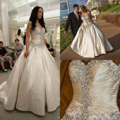 Satin-Ball-Gown-Wedding-Dresses-with-Crystal-Pearls-Custom-Size-Bridal-Gown-NEW