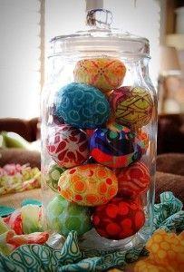 Fabric scraps on plastic eggs.