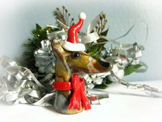 Greyhound Galgo Whippet Christmas Ornament Decoration Brindle with Santa Hat and Red Bow by GreyhoundCleyhounds on Etsy