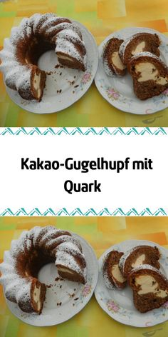 Kakao-Gugelhupf mit Quark A delicious ring cake with dark cocoa batter and a quark filling. Keto Donuts, Gluten Free Donuts, Mini Donuts, Baked Donuts, Cinnamon Sugar Donuts, Cinnamon Muffins, Chocolate Donuts, Gluten Free Chocolate, Donut Recipes