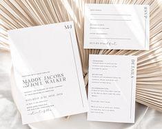 Wedding invitation minimalist | Etsy Minimalist Wedding Invitations, Photo Wedding Invitations, Printable Wedding Invitations, Elegant Wedding Invitations, Wedding Reception Schedule, Wedding Day Timeline, Minimal Wedding, T 4, Edit Online