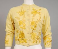 """1950's Helen Bond Carruthers yellow cashmere cardigan sweater with floral embroidery."""