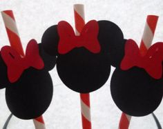 10 Minnie Mouse Red Stripped Paper Straws- Black Minnie Mouse with Red Bow Card Stock Attached- Disney Mickey Minnie Party