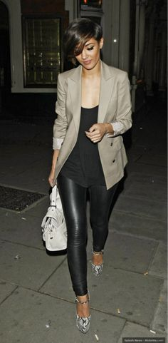 Polished - black leather leggings, tan blazer, black tee