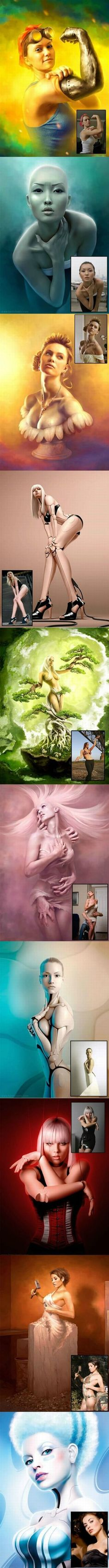 Surreal Photoshop of beautiful, strong women - Imgur ---- [  I like the first pic, but the rest are a bit creepy.  ]