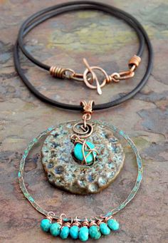Turquoise Summer Antiqued Copper Leather by ThePurpleLilyDesigns, $49.50