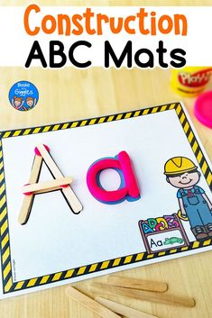These alphabet playdough mats have a construction theme twist to engage learners! Students build uppercase letters using craft sticks. Then, they shape playdough into lowercase letters. Preschool Letters, Learning Letters, Alphabet Activities, Preschool Activities, Letters Kindergarten, Construction Theme Preschool, Construction Crafts, Craft Stick Crafts, Craft Sticks