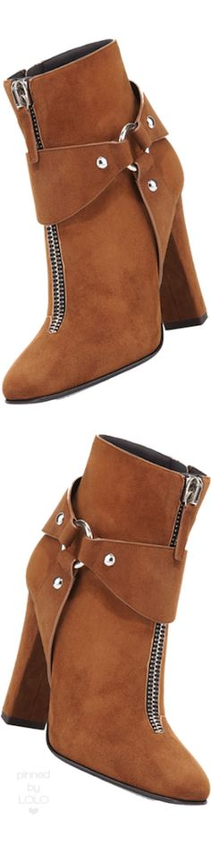 Giuseppe Zanotti Suede Zip-Front Ankle Bootie | LOLO