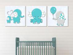 Blue Elephants - Wall Print Decor Art