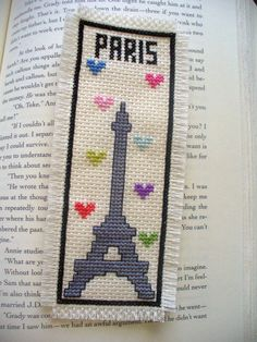 Paris Cross Stitched Bookmark  Free Shipping by EAGLCraft on Etsy