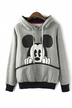 Classic Mickey Mouse Print Pullover ...with EARS on the hood! I love it! #mickey_mouse #ears #pullover