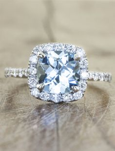 Unique engagement rings by Ken & Dana Design with aquamarine in NYC