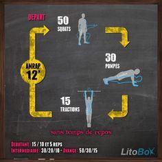 WOD de type CrossFit au poids du corps : squats, pompes et tractions !
