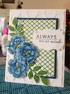 Card Techniques: blender pens/ink pads. Secret Garden stamp set/die cuts (Stampin Up)