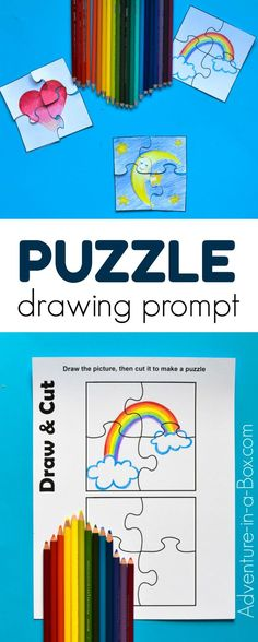 Puzzle Drawing Prompt for Kids with a Free Printable Template