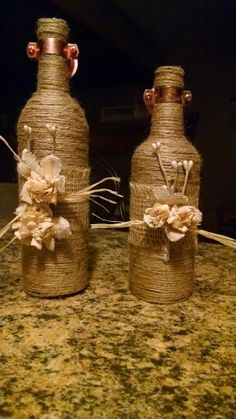 Wine bottles ready to be sconces