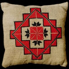 Cushion with traditional Belorussian pattern. A Cross. In Old Slavonic symbolism, the sign of the Sun and the god Svarog.
