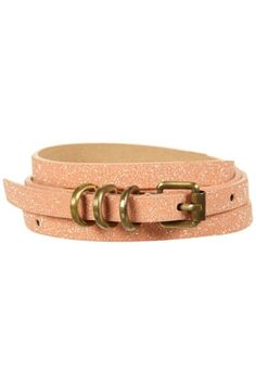 Peach Skinny Glitter Belt - StyleSays