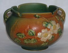 Roseville Pottery White Rose Green and Brown Jardiniere 653-4