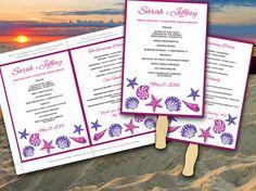 Seashells Beach Wedding Fan Microsoft Word Template - Fuchsia Regency Purple Bordered Ceremony Program - Outdoor Wedding Program Favor by PaintTheDayDesigns, $10.00