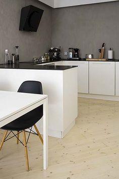 Modern black, white and grey kitchen.