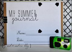Summer Journal, with cheap disposable camera. Fun gift for the last day of school? Summer Summer Summertime, Summer Kids, Kids Fun, Summer 2014, Summer Journal, Babysitting Fun, Family Organizer, Activity Days, Kids Corner