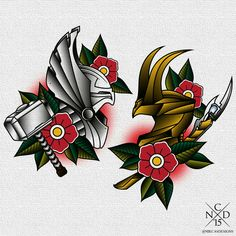 Thor and Loki (the avengers) traditional tattoo by NikCasDesigns on tumblr. This but with Captain America & Bucky.