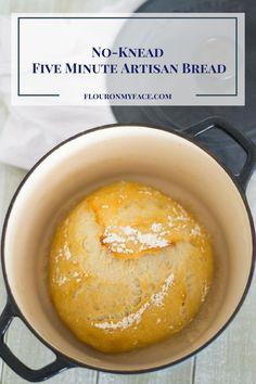 No-Knead Five Minute Artisan Bread at home via flouronmyface.com