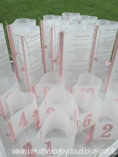 Menükarten und Tischnummern