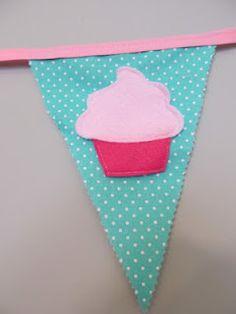 Cupcake banner made with bias tape.