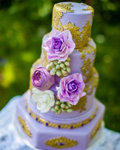 Lavender And Gold Laced Wedding Cake