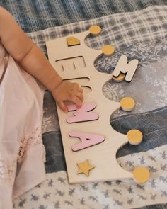 Crown Wooden Kids Name Puzzle Personalised Wooden Toys For Toddlers, Wooden Baby Toys, Wooden Puzzles, Wooden Letters, Name Puzzle, 1st Birthday Gifts, Cnc Projects, Toy Rooms, Kids Room Design