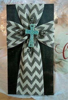 Rustic Chevron Burlap Cross Wall Hanging