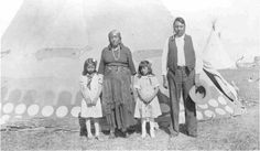 Big Sorrel Horse with his wife and two granddaughters - Blackfoot (Kainai) - no date.  We were very friendly with the Sorrel Horses and did a lot of trading with them.  Many years later I continued corresponding with Violet, who was the wife of Bob, Mr S H's son.  She was the daughter of Little Dog. JKR