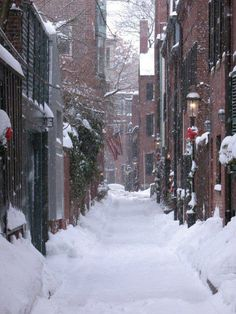 Cedar Lane Way Snow, Beacon Hill, Boston