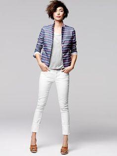 White Cuffed Jeans - Jon Jean