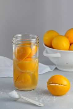 Preserved lemons are made by soaking lemons in a salt and lemon juice until the skins are supple. Pickling the fruit creates a versatile accompaniment.