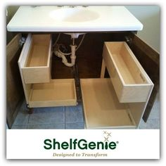 Bathroom organization made simple with pull out bathroom shelves from ShelfGenie of Baltimore. Rustic Bathroom Shelves, Bathroom Storage Shelves, Rustic Bathrooms, Bathroom Cabinets, Bathroom Organization, Bathroom Ideas, Bathroom Mirrors, Rustic Shelves, Small Bathrooms