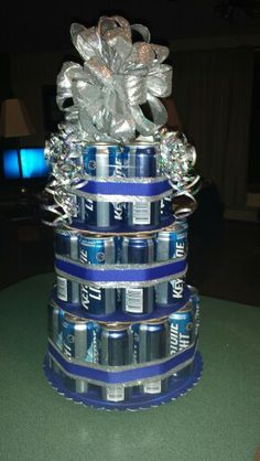 Mom and I crafted this for Clay's 21st birthday!! Beer cake:))