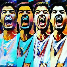 """Hungry Suárez""  By Miguel Ariloque  #instagranart #artedigital #art #arte #digitalart #Suarez #popart #appprisma🔺"