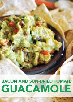Bacon and Sun-Dried Tomato Guacamole is a zesty and festive party dip ...