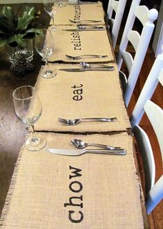 Burlap Placemats.  Great idea for Thanksgiving.  Maybe you could put each person's name on the placemat instead of doing name cards?