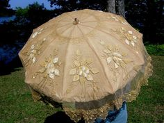 ANTIQUE SILK PARASOL w/ APPLIQUED & EMBROIDERED LACE - FLORAL CARVED HANDLE