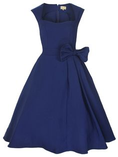 NEW CLASSY VINTAGE 1950's ROCKABILLY STYLE MIDNIGHT BLUE BOW SWING PARTY DRESS | eBay