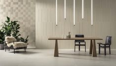 This contemporary dining room has two textured porcelain wall tiles from the Segments Collection. This material is great for indoor and outdoor use and there are many colors and styles available. Wall Cladding Designs, Wall Tiles Design, Terrazzo, Background Tile, Art Deco, Wall Installation, Milan Design, Dining Room Walls, Interior Walls