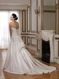 Taffeta Softly Curved Neckline A-line Wedding Dress