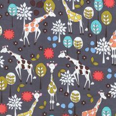 fabric: Michael Miller House Designer - Citron Gray - Giraffe Garden in Gray